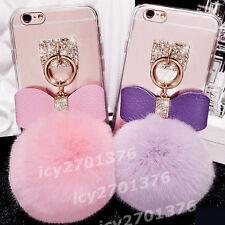 NEW Bling Diamonds Rabbit Fur Hair Ball Tassel soft TPU Back Case Cover Skin #D