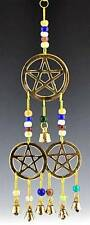 "Wind Chime with Beads and Bells, Three Pentacle with Beads, 12"" #Omi-Clb-127"