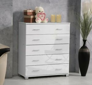 High Gloss Drawers Chest of Drawers 5 Drawer Clothes Organiser Bedroom Furniture