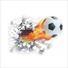 XXL 3D Aufkleber Fussball mit Feuer Wanddurchbruch Wandtattoo Kinder SALE