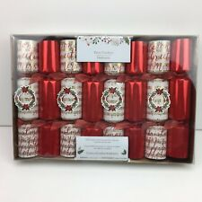 Pier 1 Holiday Christmas Party Crackers Pack of 8 Red Music Hat Joke Su