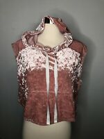 One Clothing women's Pink Velour Velvet Cropped Hoodie Muscle top shirt S Euc