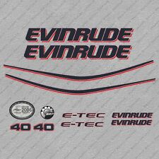 Evinrude 40 hp ETEC outboard engine decals sticker set reproduction White Cowl