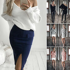 Women's Sexy Off the Shoulder Solid Chunky Sweater Baggy Cable Knit Jumper Tops