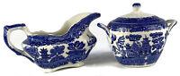Allertons Willow Gravy Boat & Sugar Pot - Vintage - Blue - Made In England