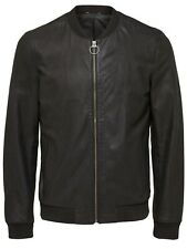 Selected Homme Black Leather Jacket Small TD097 ii 18