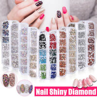 12Box/Set Crystal Rhinestone Diamond Gems 3D Glitter Nail Art Decoration 2021 US
