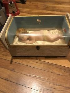 Antique Rare Wax Baby Doll Mechanical Music Box Baby Jesus Satin Lined Case