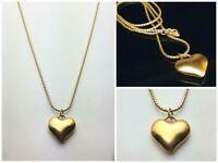 "Statement Runway Matte Gold Tone Puffy Heart Pendant Necklace Long 38"" VTG?"