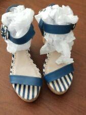 NWOB Charles David Women's Navy Blue Leather Vibiana Platform Sandals Size 8M
