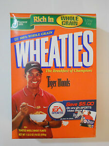 Wheaties Tiger Woods cereal box 1999 18oz full