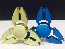 2 Pcs (GOLD & BLUE) Fidget Spinner Metallic Brass , Retail Package. USA Seller