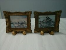 VTG VICTORIAN STY REPOUSSE RESIN PICTURE FRAME w SEASCAPE NAUTICAL PRINT ENGLAND