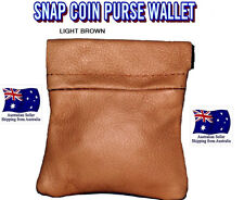 MENS LADIES SNAP REAL LIGHT BROWN LEATHER COIN CHANGE POUCH PURSE WALLET SPRING