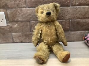 VINTAGE /ANTIQUE CHAD VALLEY MOHAIR TEDDY BEAR WITH GLASS EYES MEASURES36CM TALL