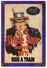 Uncle Sam New York Central Railroad Aluminum Sign