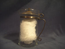 Pitcher Creamer Etched Glass Vtg Metal Handle Lid Cream Syrup Flowers Leave