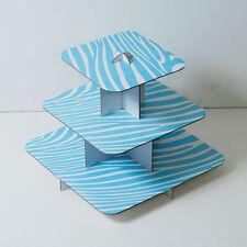 "2pk 12"" Blue Cake Stand 3 Tier Square Cupcake Wedding Baby Shower Zebra Print"