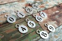 10 Number Charms Pendants Antiqued Silver Number Tokens 0 to 9