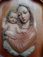 Vintage Anri Italy hand carved Madonna & Child Plaque, 11 inches