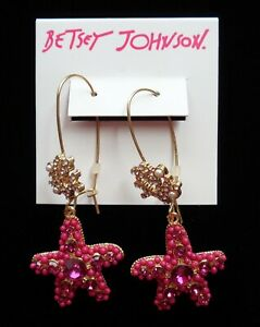 Betsey Johnson Starfish Sea Pink Rhinestones Crystals Earrings Drop Dangle NEW