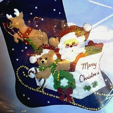 "18"" Christmas Stocking Kit 9225 Merry Christmas from Santas Sleigh Hobby Kraft"