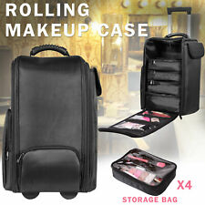 Rolling Makeup Case Hairdressing Beauty Cosmetic Trolley Organizer Bag Cosmetics
