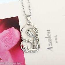 1 Silber Halskette Anhänger Kette Halsschmuck Modeschmuck Mutter Kinder 50cm L/P