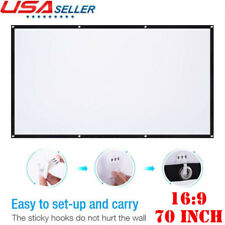 """70"""" 70 Inch Projector Screen 16:9 HD Foldable Anti-Crease Projection Screen US"""