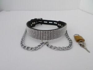 bdsm diamante mesh fetish bondage collar 24 wide lockable with looped chain