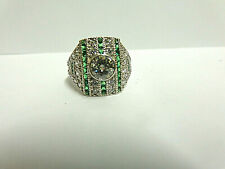 moissanite and emerald ring sterling silver sz7 wgt 5.8 grams tcw 2.14