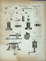 Old Antique Print Encyclopaedia Britannica Mechanics Diagrams Instruments 18th