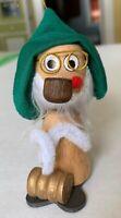 Vintage Christmas Kurt Adler Elf Nodder Bobble Head Wood Felt Ornament Japan