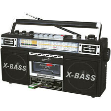 SuperSonic Retro 4 Band Radio and Cassette Player, Black