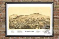 Vintage Stamford, NY Map 1890 - Historic New York Art - Old Victorian Industrial