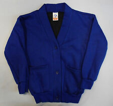Childrens Kids School Cardigan Jumper Sweatshirt Schoolwear Plain Fleece Lined