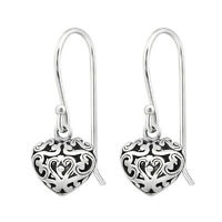 925 Sterling Silver Filigree Heart Drop/Dangle Earrings