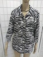 Women's Zenergy by Chico's Sz 1 (Med)White Black Zebra Print Zip Up Jacket