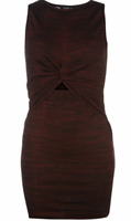 Firetrap Blackseal Twist Dress Black and Burgundy Pattern UK Ladies Size M