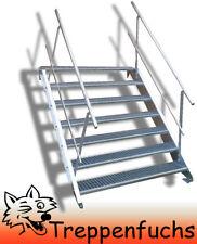 7 Stufen Stahltreppe beidseitig. Geländer Breite 100cm Geschosshöhe 100-140cm