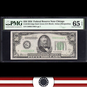 1934 $50 CHICAGO FRN Federal Reserve Note  PMG 65 EPQ  Fr 2102-Gdgs G06951466A