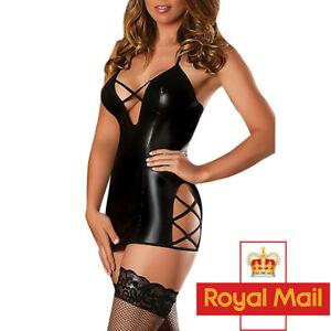UK Sexy Women PVC Faux Leather WET LOOK Crotch Bodycon Dress Lingerie Clubwear