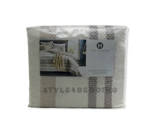 Hotel Collection Honeycomb Stripe Oatmeal Full / Queen Duvet Cover BRAND NEW