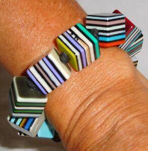 Sobral Multi Stripe Night Pop Art Popinho Cubes Larg Size Bracelet Brazil Import