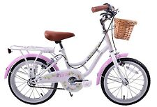 "Haze Girls 16"" Wheel Traditional Shopper Style Bike & Basket White/Pink Age 5+"