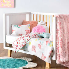 ADAIRS KIDS Birdy pink flowers COT/JUNIOR BED QUILTED Quilt COVER SET BNIP