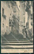 Taranto città scalinata Via Nuova postcard cartolina KF3476