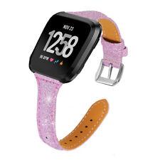 Pink For Fitbit Versa 2 1/Lite/SE Strap Slim Belt Women Genuine Leather Band