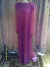Drag Queen Pink LONG  dress with train and pale pink feather feathers 20/22