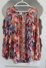 Womens Size XXL Peasant Top Blue Orange Tie Dye Tribal Print Long Tunic Blouse